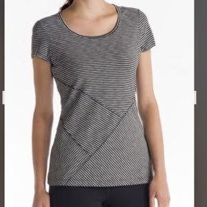 LOLE Curl T-shirt Stripe Cap Sleeve Top sz Small